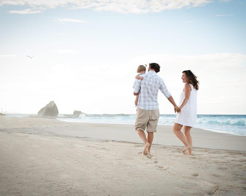 Family Portrait: family walking on Currumbin Beach